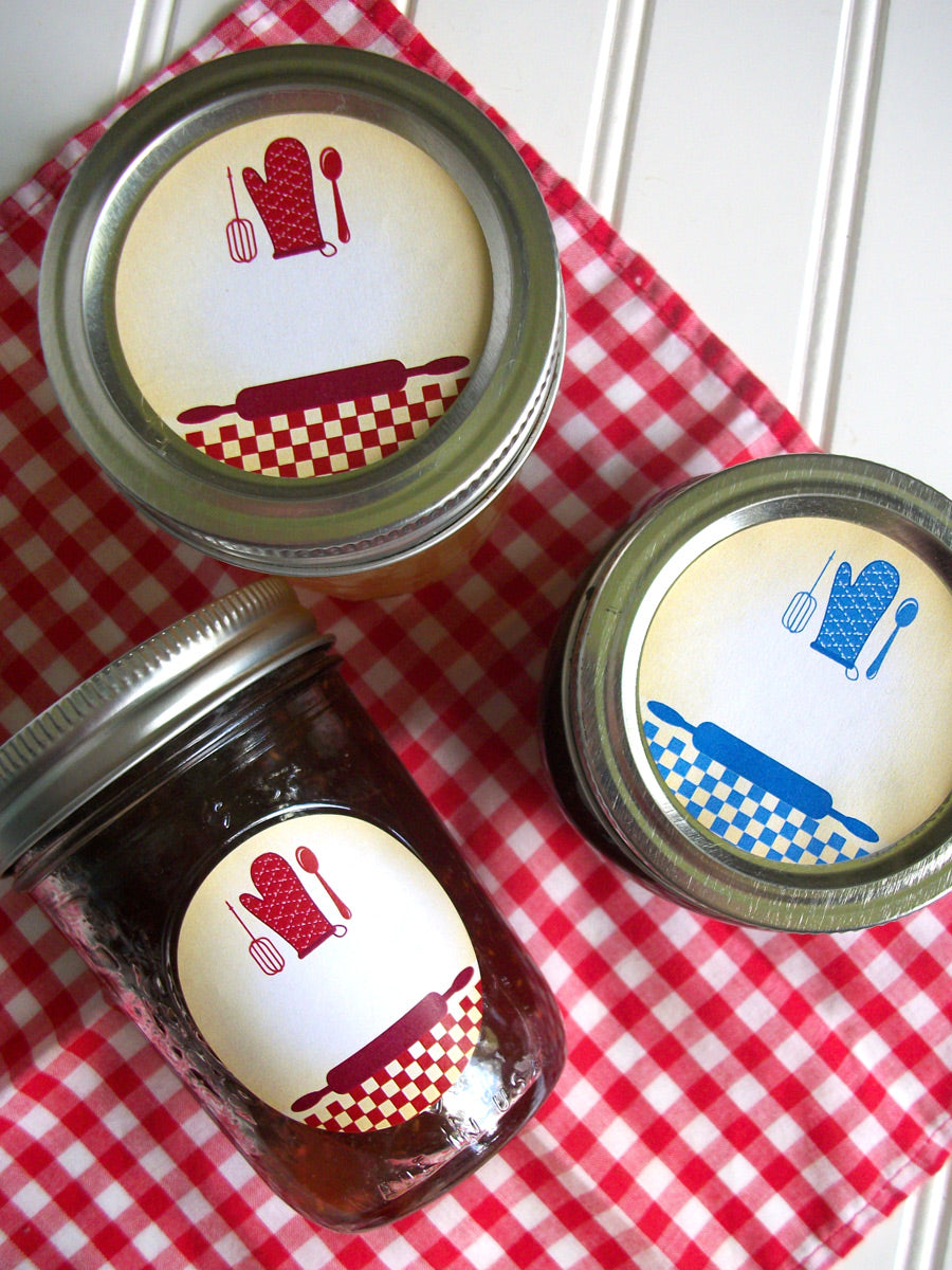 Red & Blue Country Kitchen Canning Labels | CanningCrafts.com