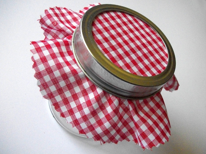 red gingham jam jar cover | CanningCrafts.com