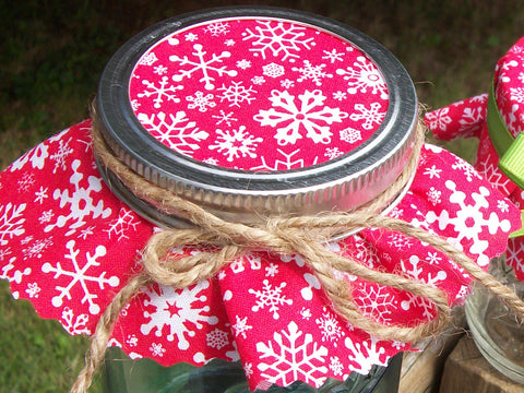 Red Snowflake Christmas Jam Jar Covers | CanningCrafts.com