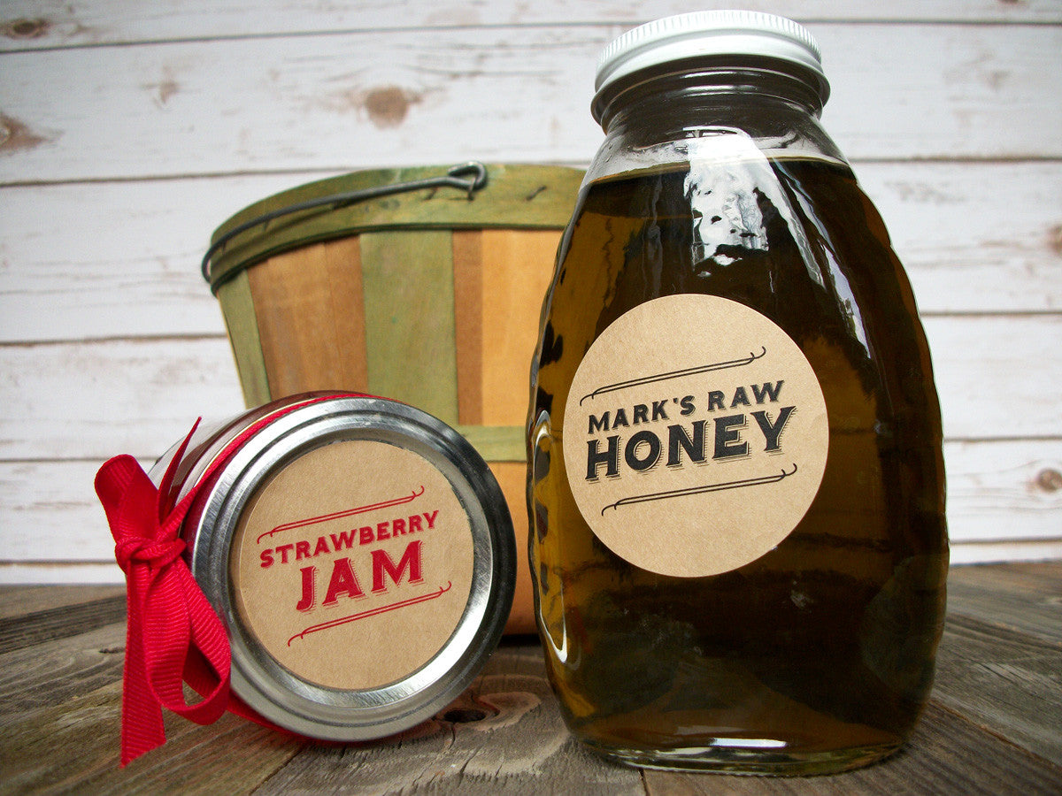 Retro Kraft Paper Custom Canning Labels | CanningCrafts.com