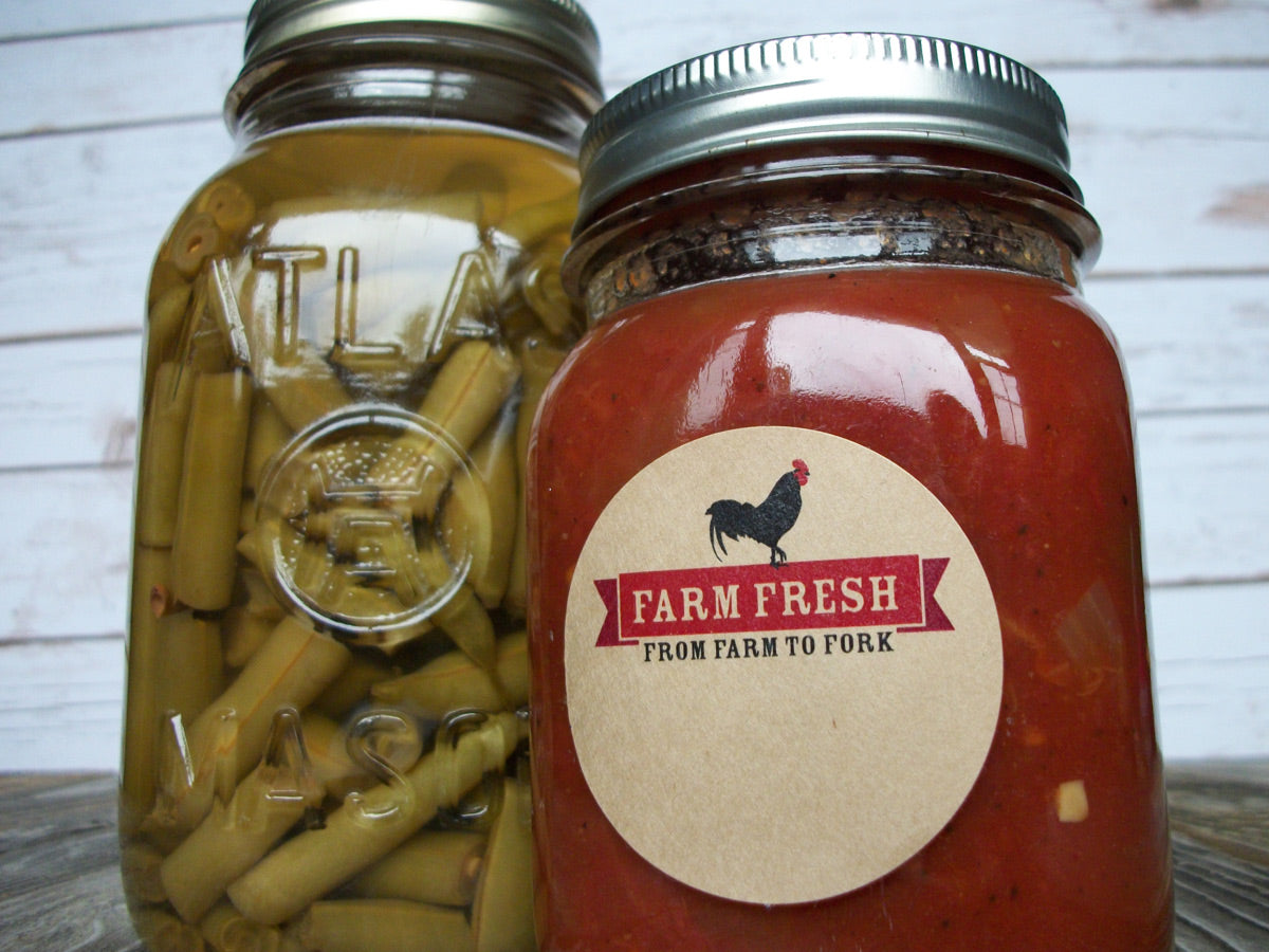 Farm Fresh Rooster From Farm to Fork Canning Jar Labels | CanningCrafts.com