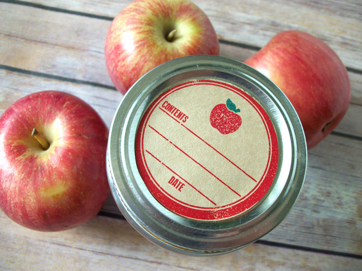 Kraft Rubber Stamp Apple Canning Labels | CanningCrafts.com