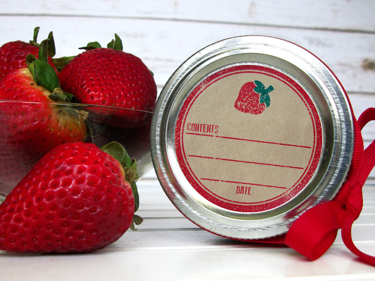 Rubber Stamp Kraft Strawberry Canning Labels | CanningCrafts.com