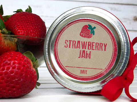 Rubber Stamp Kraft Strawberry Jam Canning Labels | CanningCrafts.com