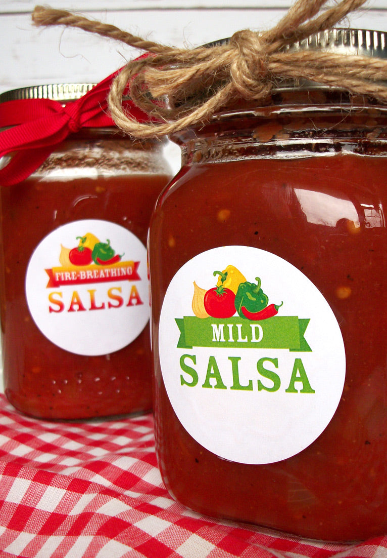 Hot, Mild, Medium, & Fire-Breathing Salsa Canning Labels | CanningCrafts.com