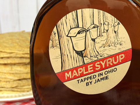 Custom Kraft Sap Bucket Maple Syrup Labels | CanningCrafts.com