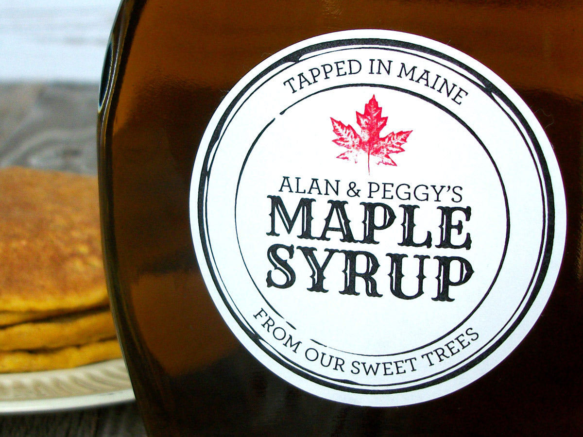 Black Seal apothecary style custom Maple Syrup labels | CanningCrafts.com