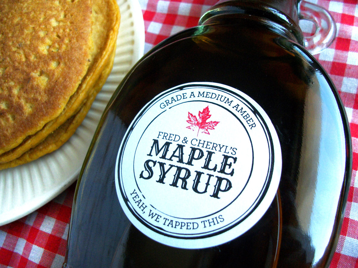 Black Seal apothecary style custom Maple Syrup bottle labels | CanningCrafts.com