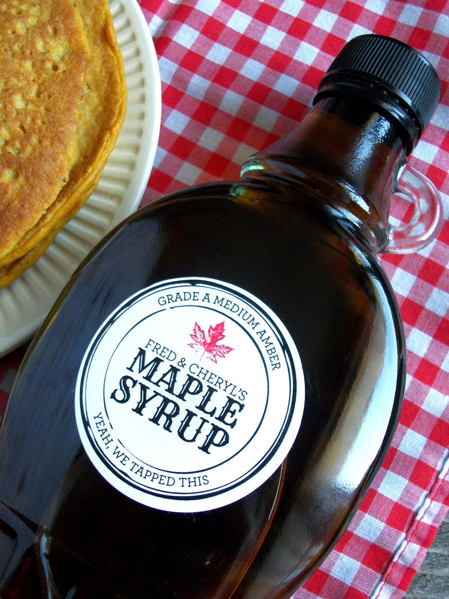 Black Seal apothecary style custom Maple Syrup stickers | CanningCrafts.com