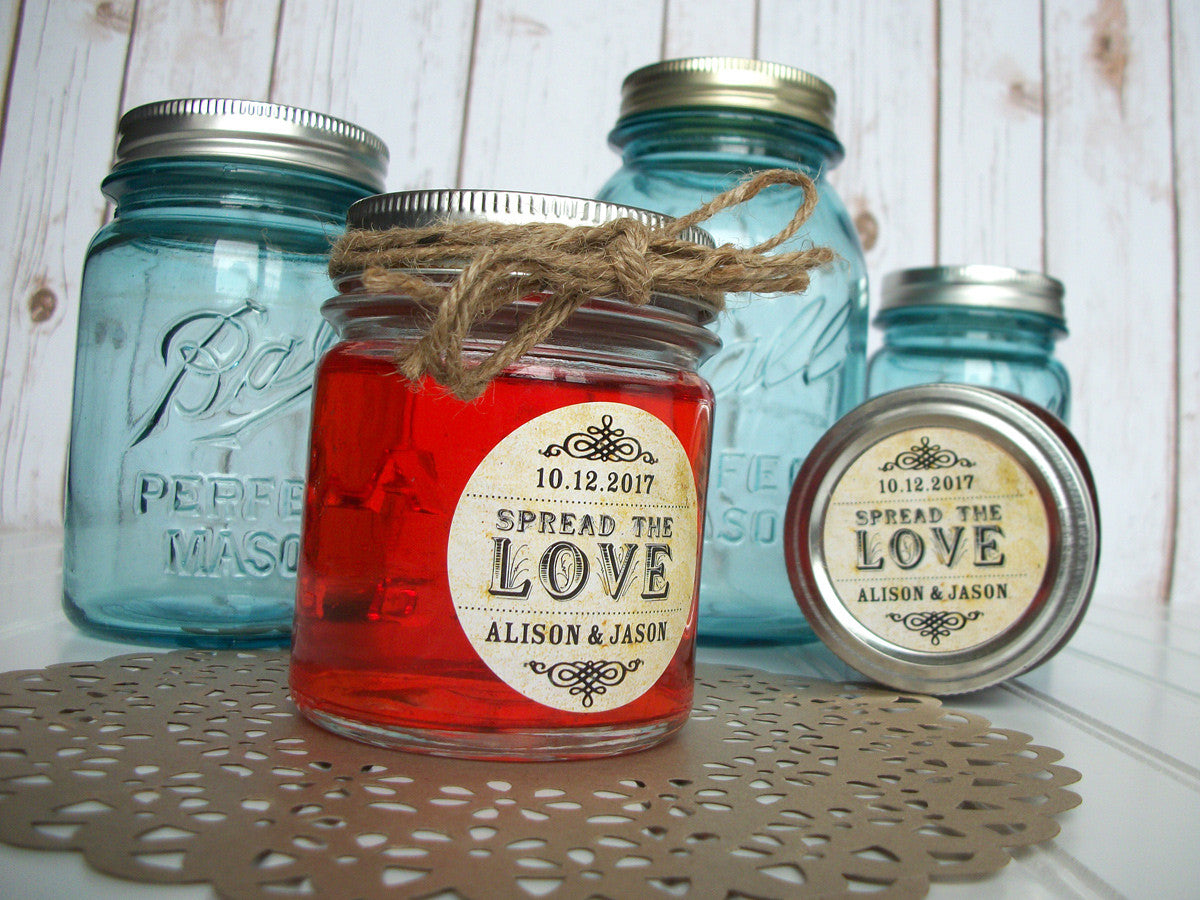 custom vintage Spread the Love wedding jam jar canning label | CanningCrafts.com