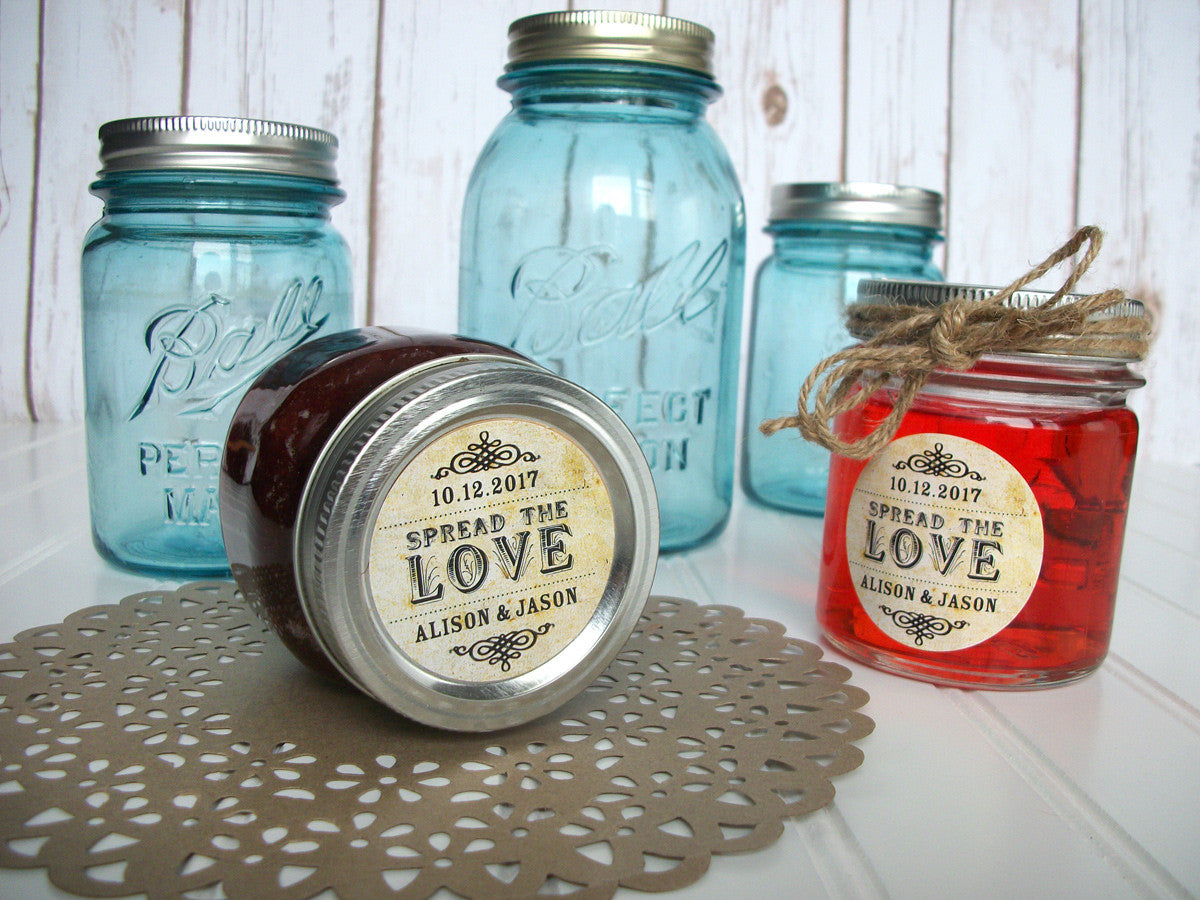 custom vintage Spread the Love wedding jam jar favor label | CanningCrafts.com