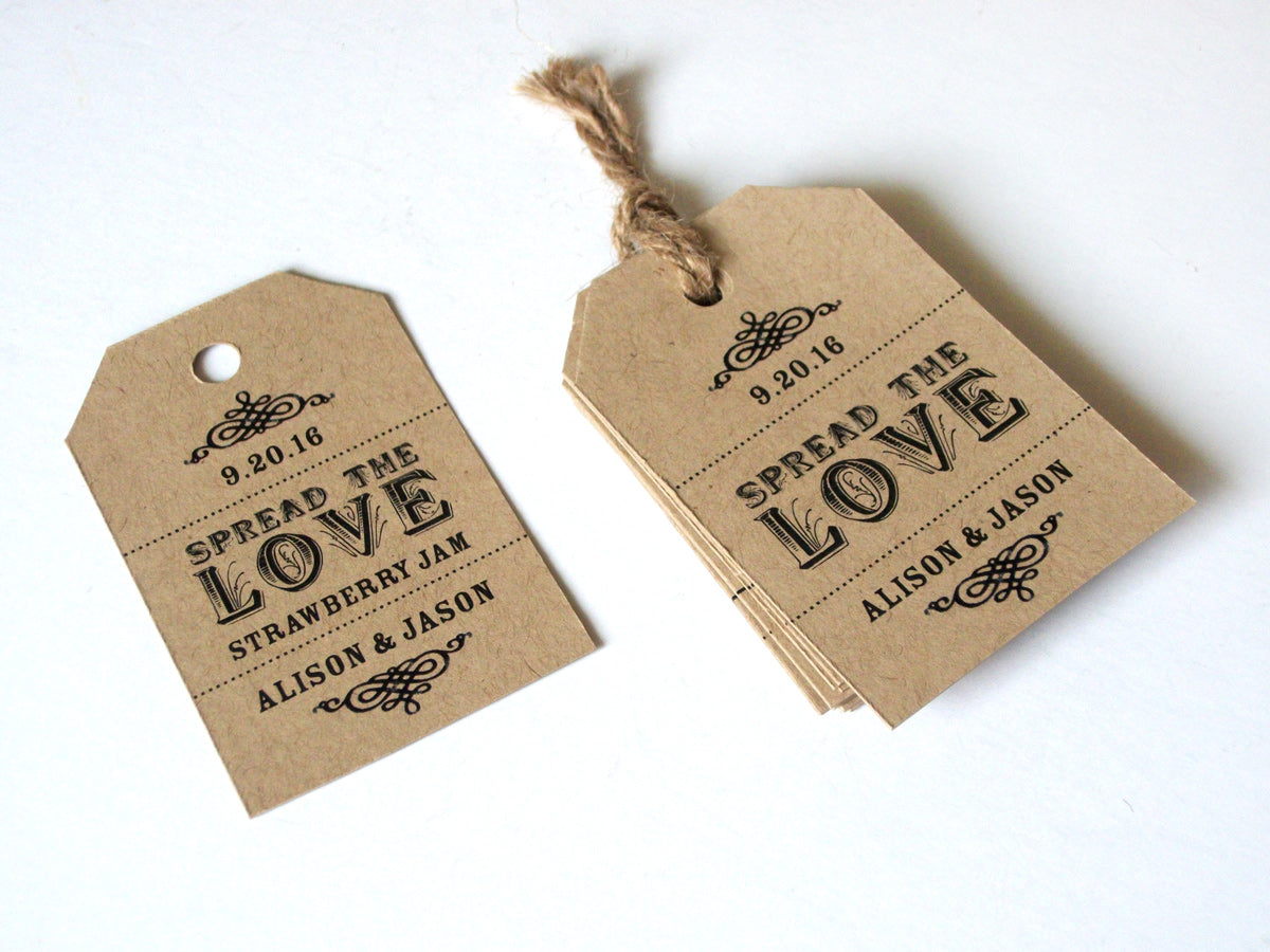 Custom Spread the Love Wedding Favor Jar Hang Tags | CanningCrafts.com