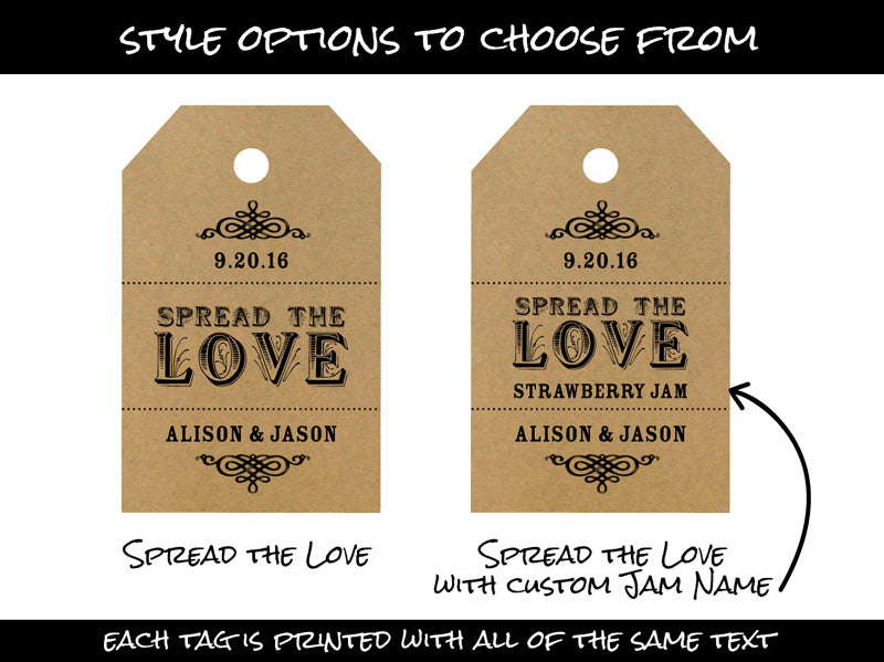 Custom Spread the Love Wedding Hang Tags | CanningCrafts.com