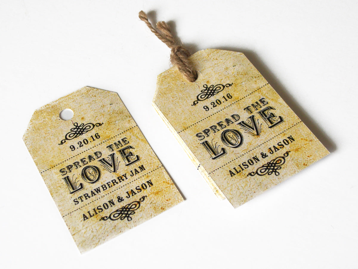 Custom Vintage Spread the Love Wedding Hang Tags | CanningCrafts.com