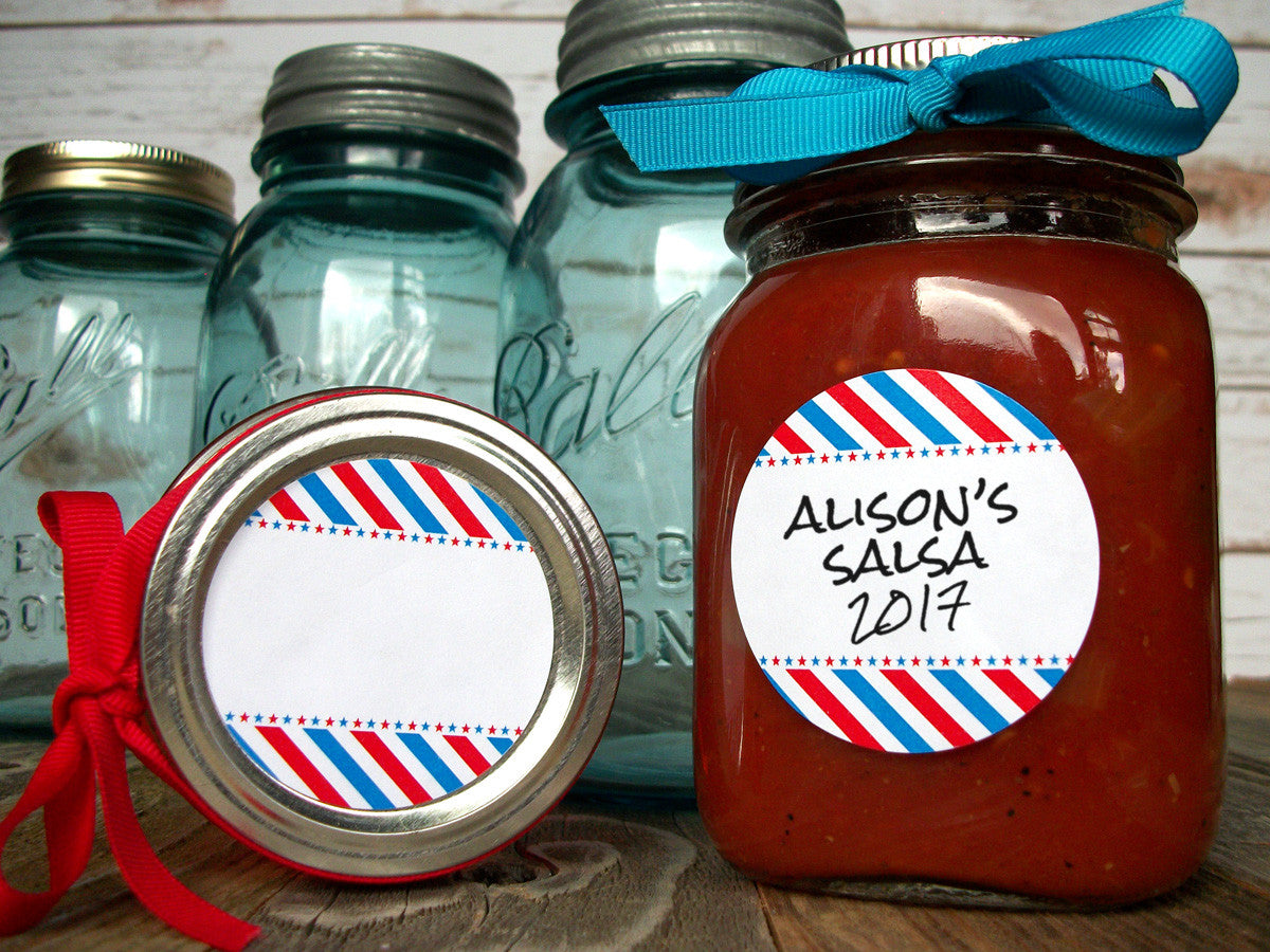 Patriotic red white & blue mason jar labels | CanningCrafts.com