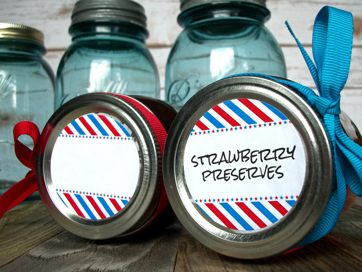 Patriotic red white & blue canning jar labels | CanningCrafts.com