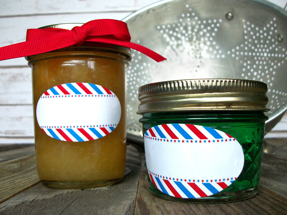 Red White & Blue Stars & Stripes oval canning jar labels | CanningCrafts.com