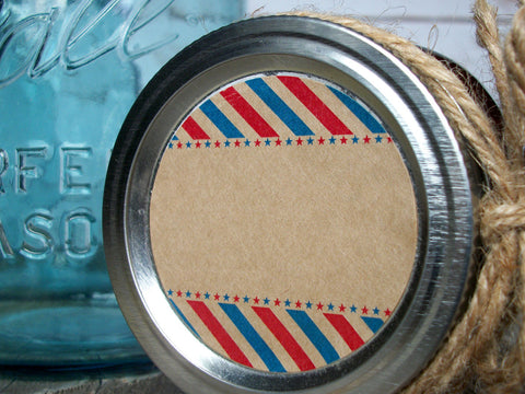 Patriotic red white & blue canning labels | CanningCrafts.com