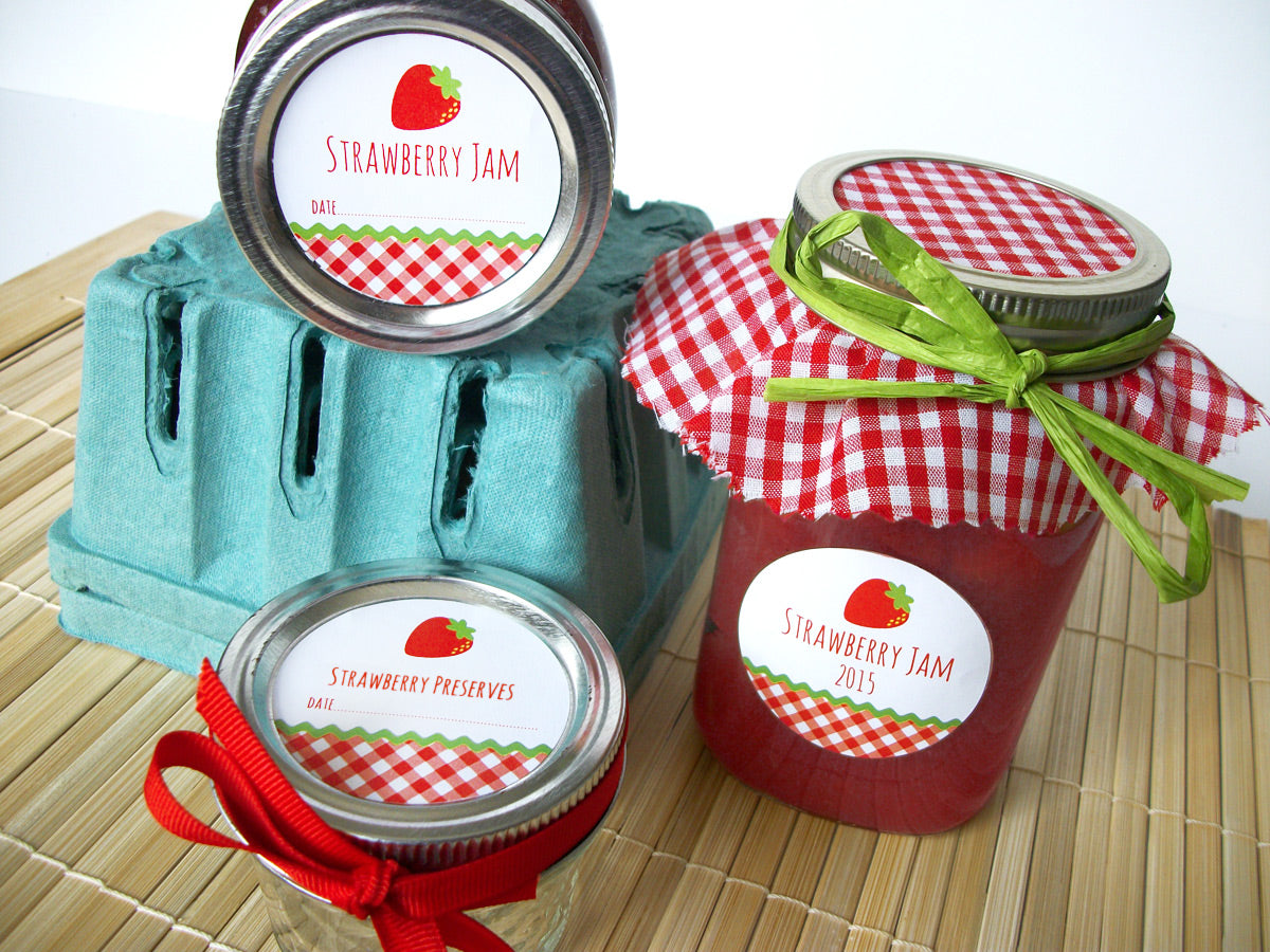 Strawberry Jam, Jelly, & Preserves Canning Labels | CanningCrafts.com