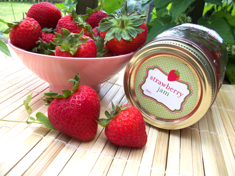 Strawberry Jam Canning Jar Labels | CanningCrafts.com