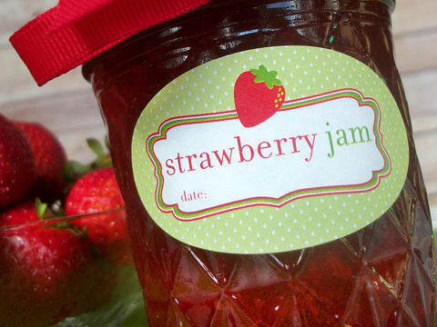 Oval Strawberry Jam Canning Labels | CanningCrafts.com