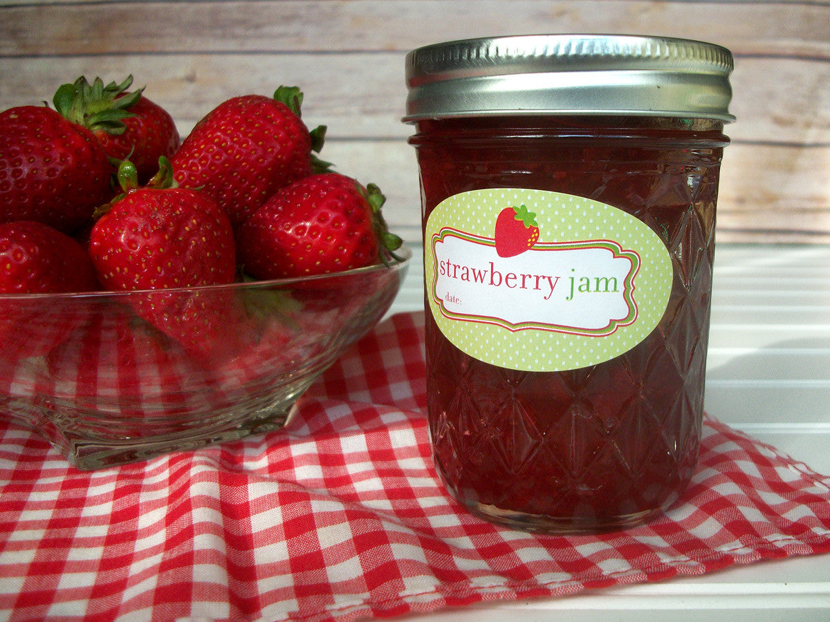 Oval Strawberry Jam Canning Jar Labels | CanningCrafts.com