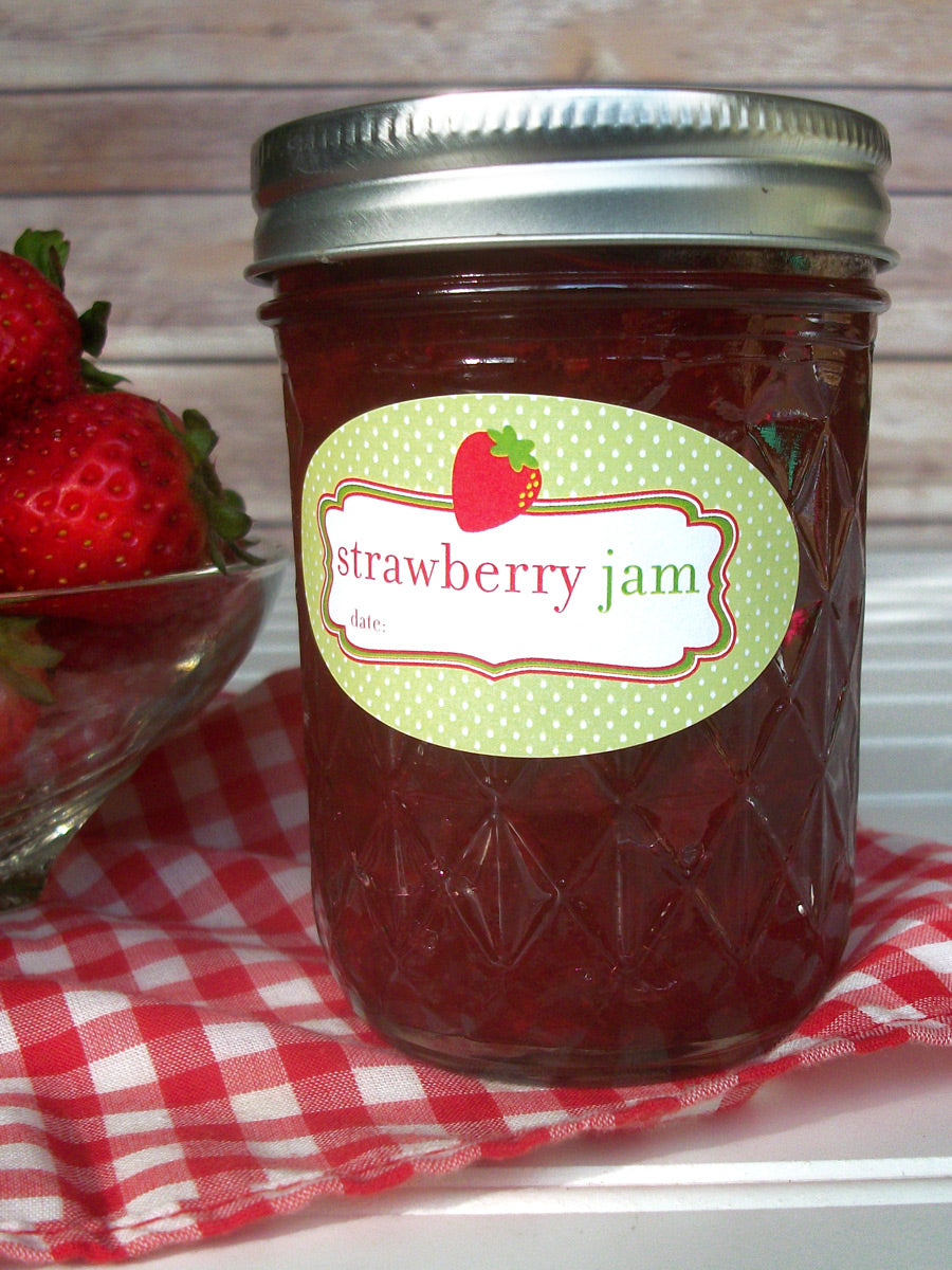 Oval Strawberry Jam Canning Jar Labels for quilted jam jars | CanningCrafts.com