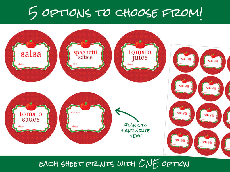 cute tomato juice sauce salsa spaghetti canning jar labels