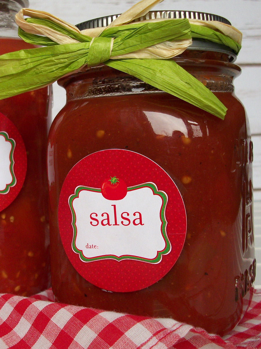 Tomato Salsa Mason Canning Jar Labels | CanningCrafts.com