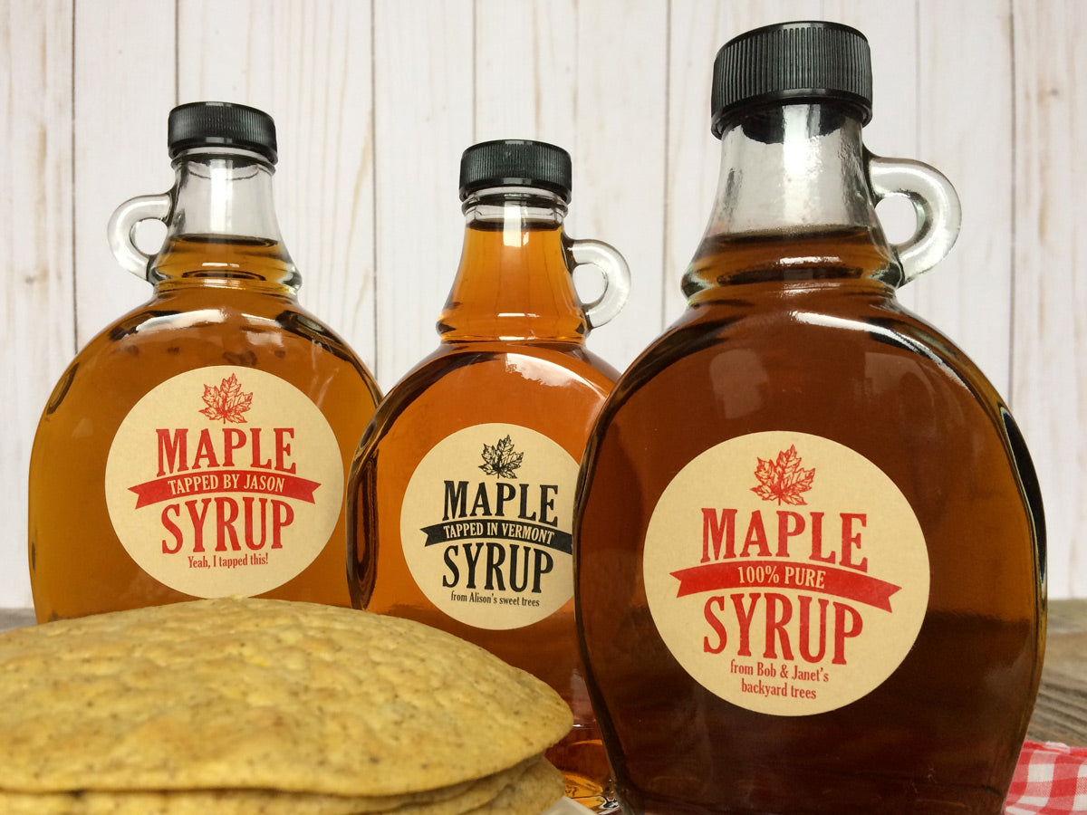 Custom Kraft Traditional Maple Syrup Bottle Labels | CanningCrafts.com