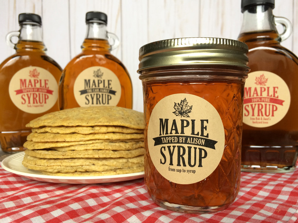 Custom Kraft Traditional Maple Syrup Labels | CanningCrafts.com