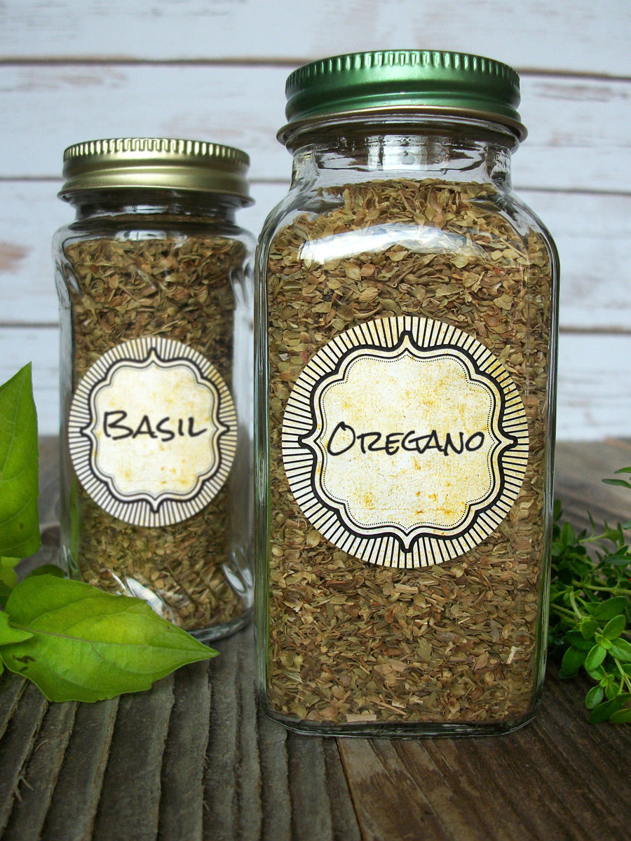 Vintage Burst Herb & Spice Jar Canning Labels | CanningCrafts.com