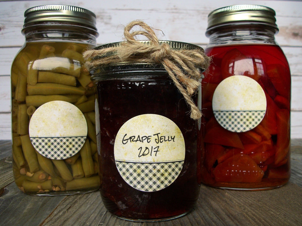 Vintage Checkered canning jar labels | CanningCrafts.com