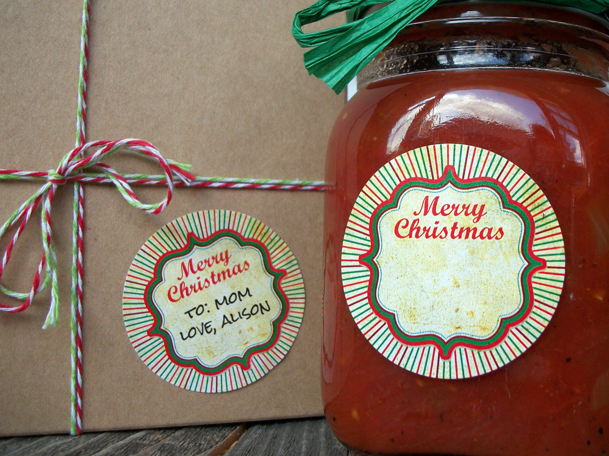 Vintage Merry Christmas Canning Jar Labels | CanningCrafts.com
