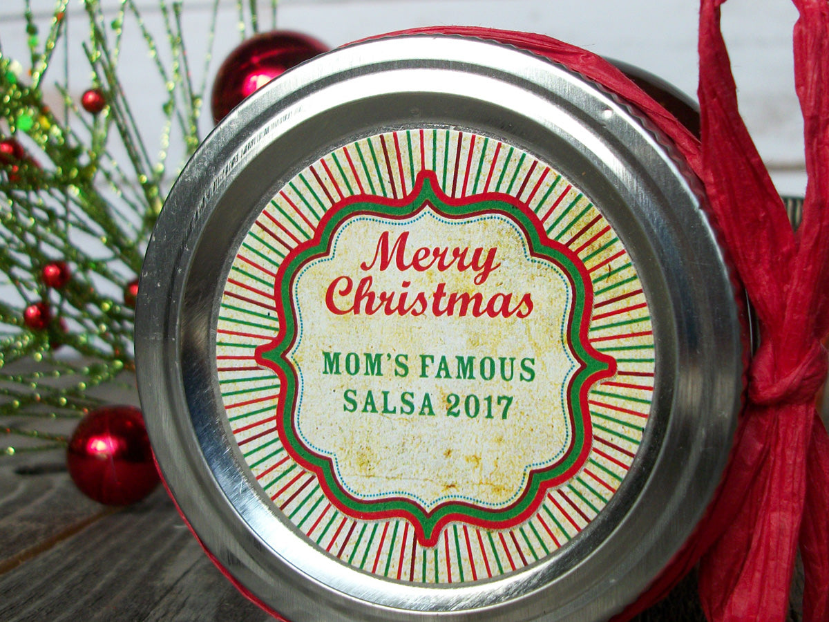 Merry Christmas Labels.Custom Vintage Burst Christmas Labels