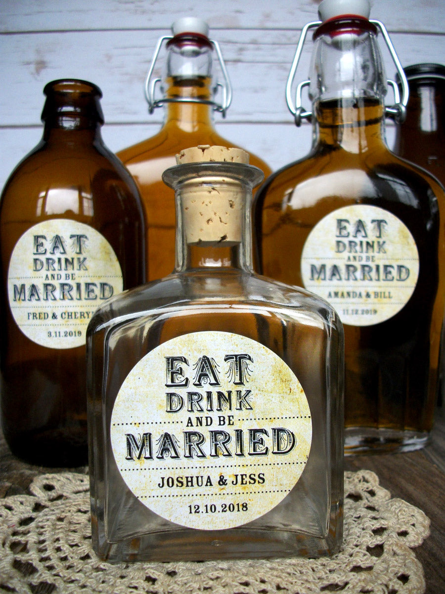 custom vintage Eat Drink and Be Married wedding labels | CanningCrafts.com