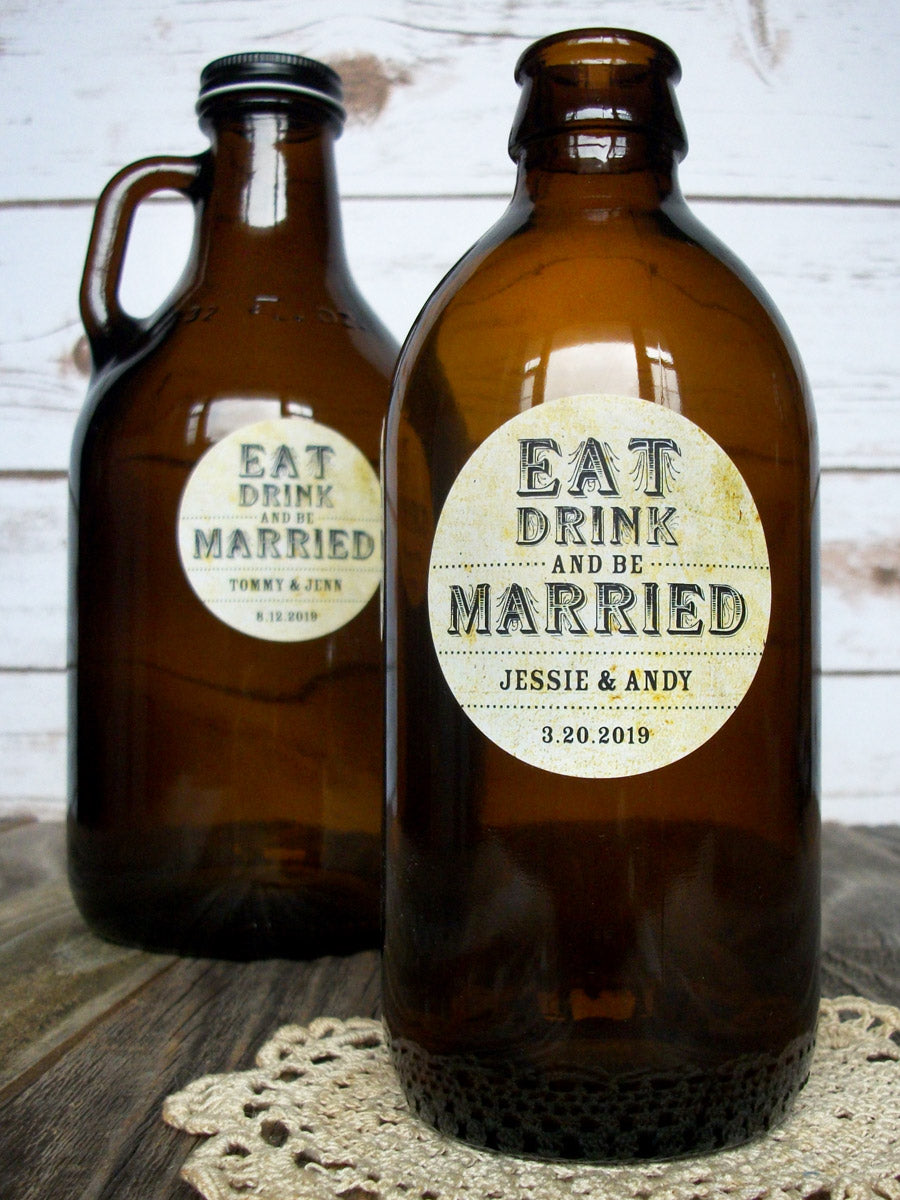 custom vintage Eat Drink and Be Married wedding wine labels | CanningCrafts.com