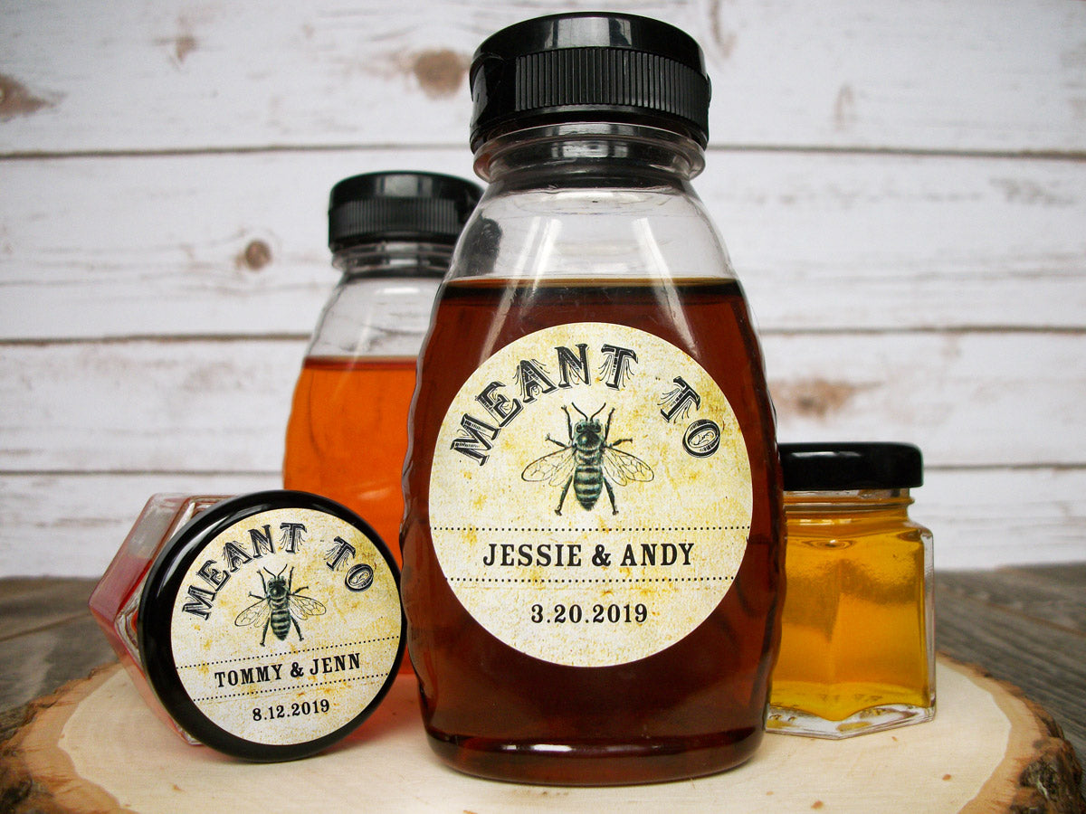 Vintage Meant to Bee Wedding Honey Favor Labels | CanningCrafts.com