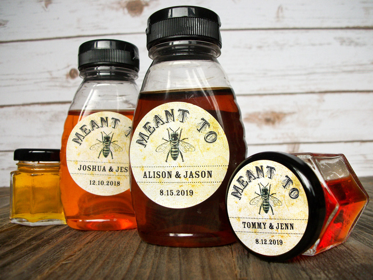 Vintage Meant to Bee Wedding Honey Bottle Favor Labels | CanningCrafts.com