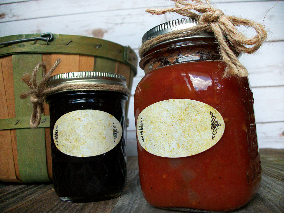 Oval Quilted Jar Canning Labels