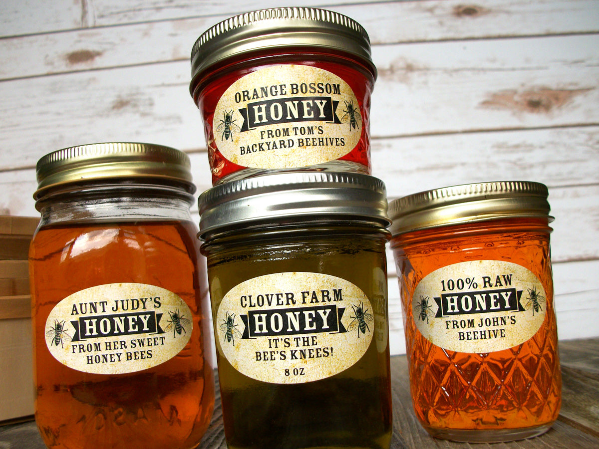Custom Vintage Oval Honey Jar Labels | CanningCrafts.com