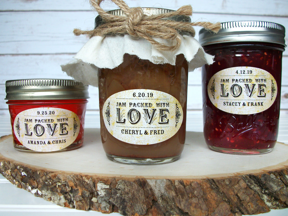 Vintage Oval Jam Packed with Love Canning Labels | CanningCrafts.com