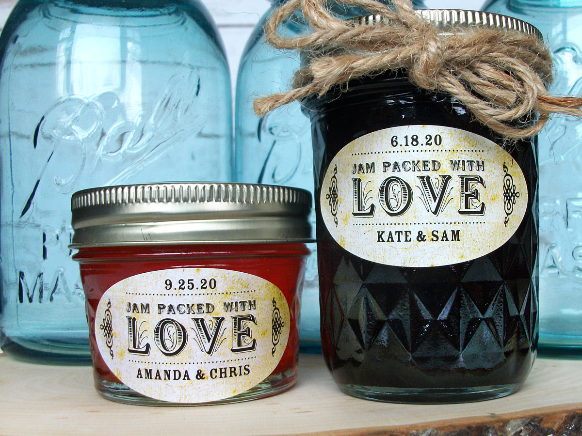 Vintage Oval Jam Packed with Love Canning Jar Labels | CanningCrafts.com