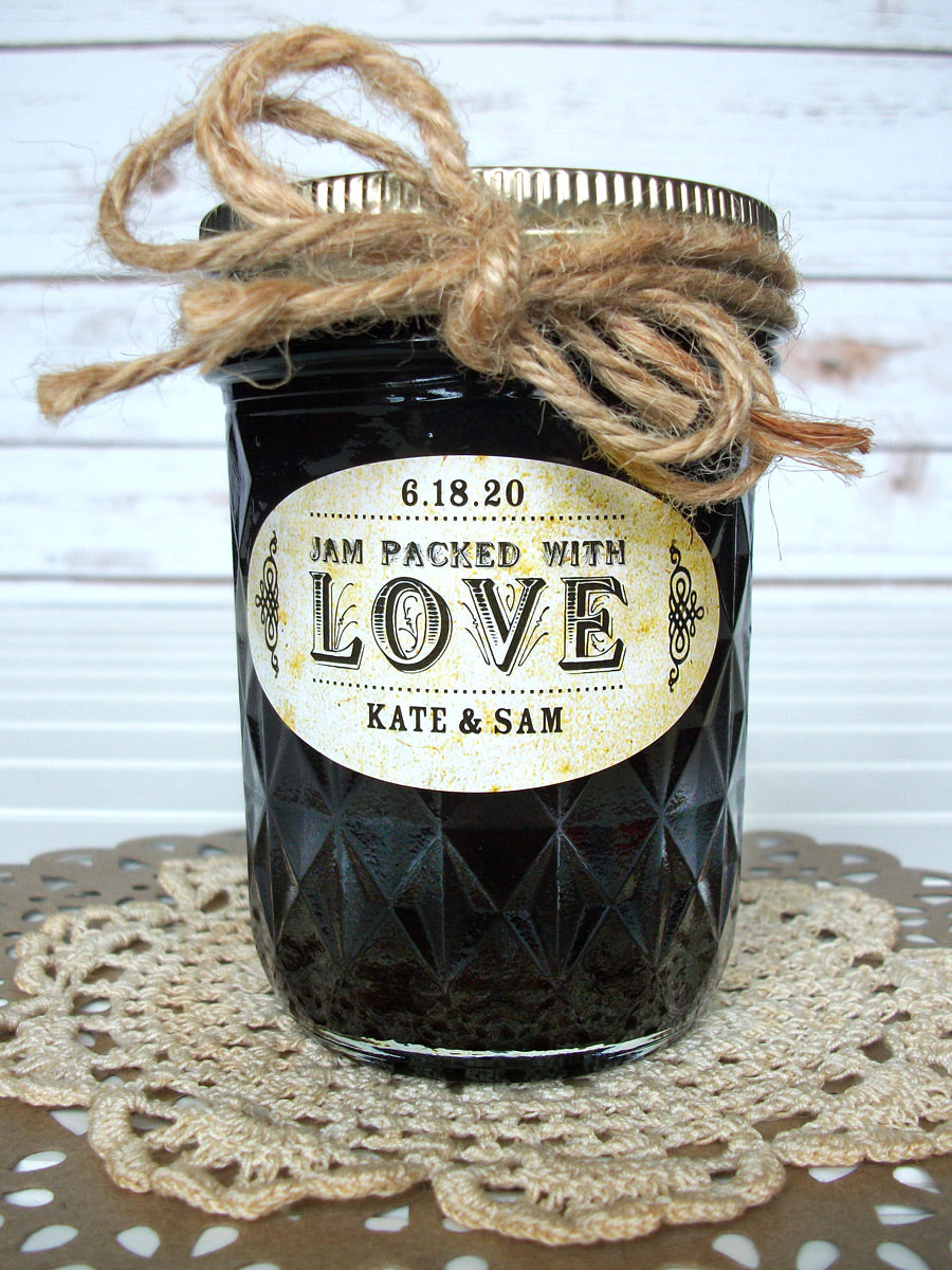 Vintage Oval Jam Packed with Love Wedding Jam Jar Labels | CanningCrafts.com