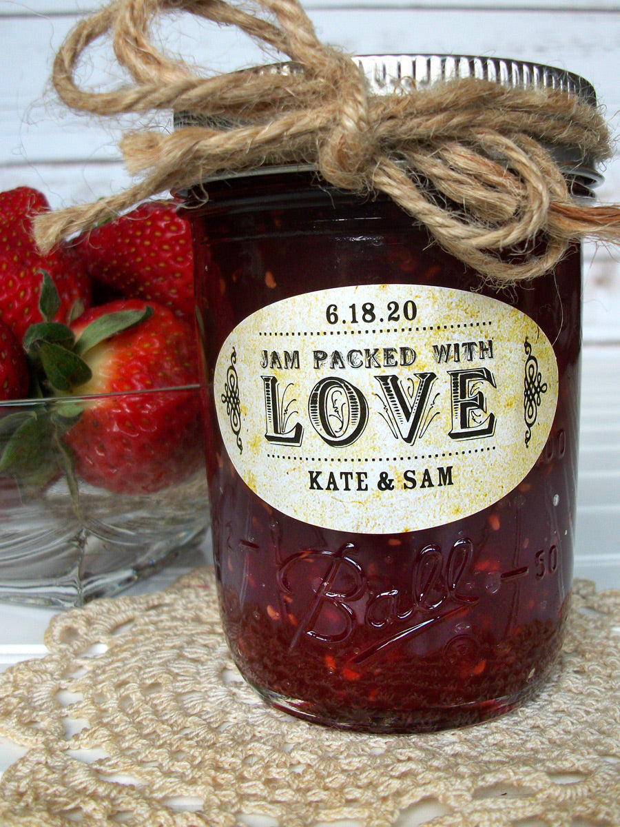 Vintage Oval Jam Packed with Love Wedding Jam Jar Canning Labels | CanningCrafts.com