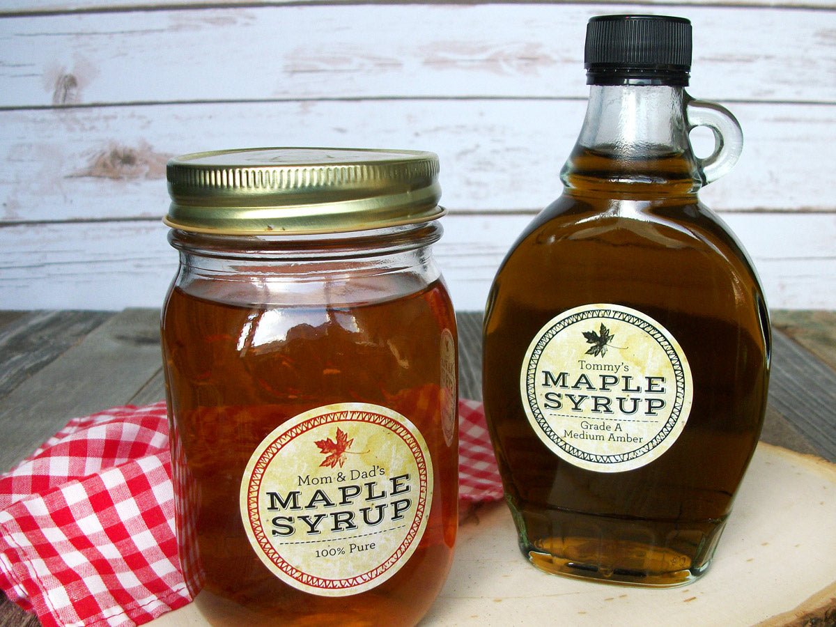 custom Vintage Seal Maple Syrup stickers | CanningCrafts.com
