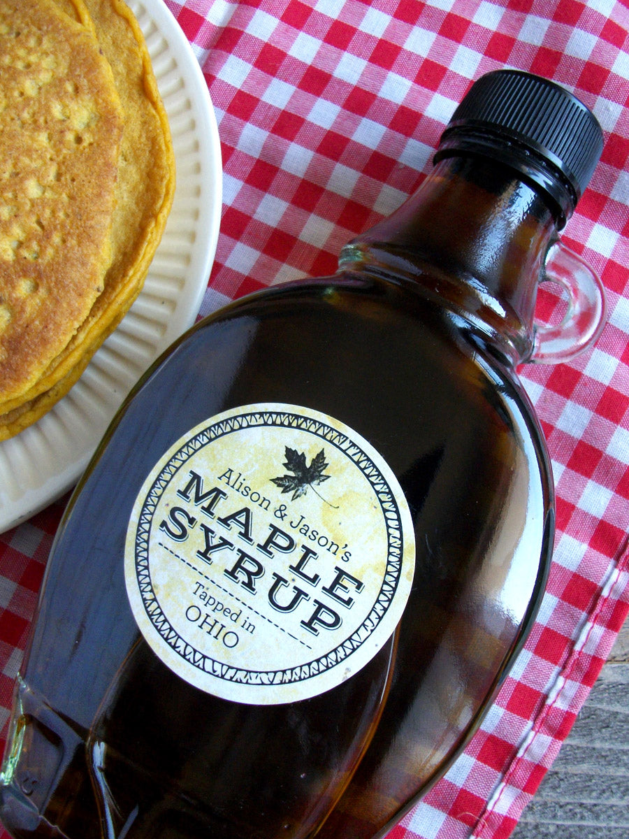 custom Vintage Seal Maple Syrup bottle labels | CanningCrafts.com