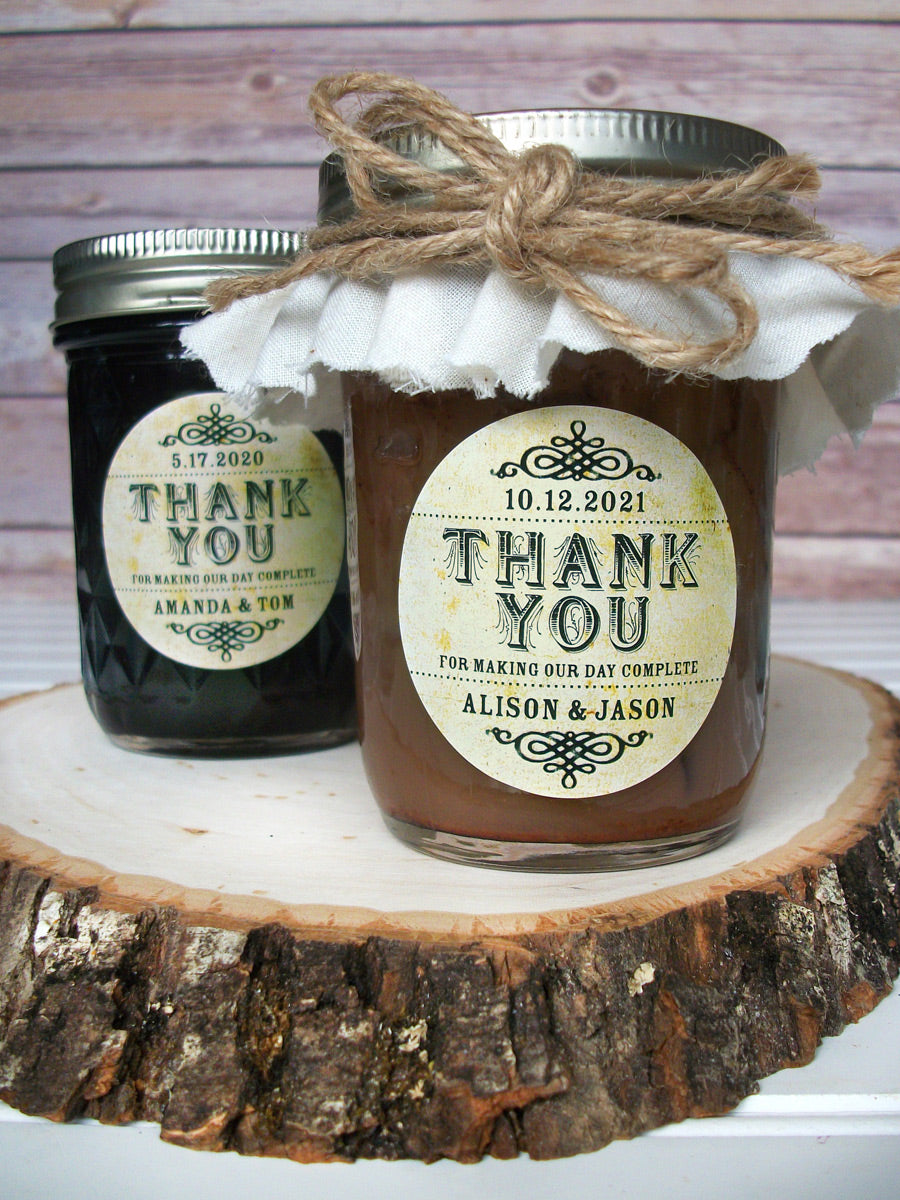 Vintage Thank You Wedding Canning Jar Favor Labels | CanningCrafts.com