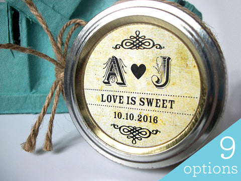 Custom Vintage Wedding Initials Canning Labels | CanningCrafts.com