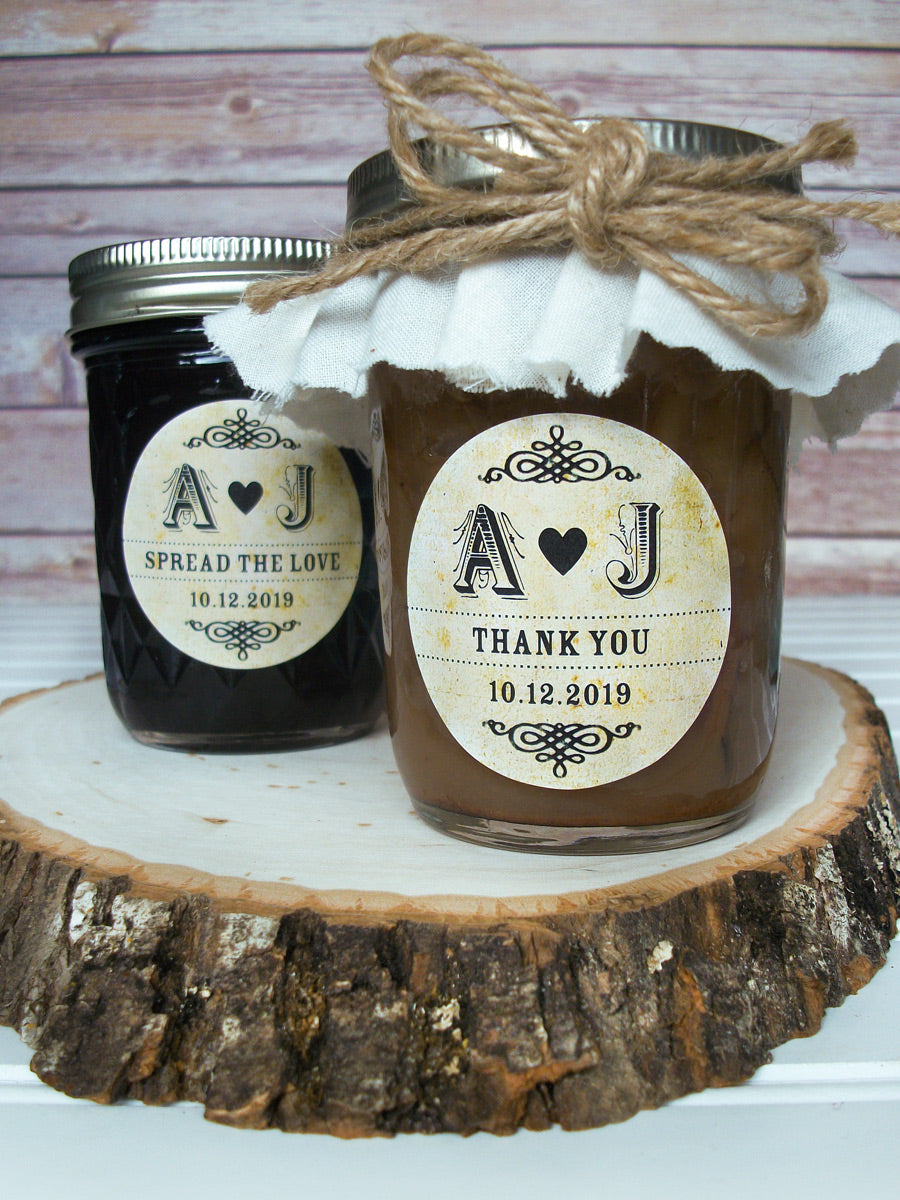 Custom Vintage Wedding Initials Jam Jar Labels | CanningCrafts.com